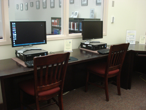 image of workstations in library computer room